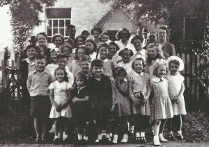 Children outside the old Perry Baptist Church